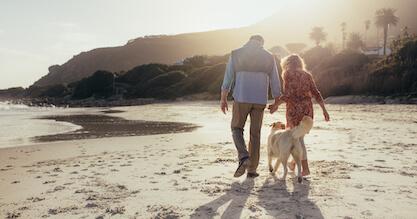 Full,Length,Rear,View,Shot,Of,Senior,Couple,Walking,Along